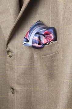 Hand Painted Silk Mens Nautical Silk Satin Pocket Square