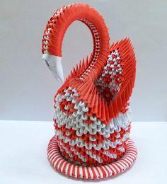 Origami Red Swan by designermetin on DeviantArt Origami Paper Folding, Origami And Kirigami, Modular Origami, Oragami, Origami Art, Diy And Crafts, Arts And Crafts, Paper Crafts, 3d Paper