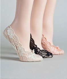 Love that they are cushioned! super adorable in lace! Look easy to fit in a purse for when heels start to hurt. plus they are $6 ...whoa! I like these.:
