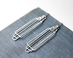 Art Deco Earrings - silver geometric, The Great Gatsby, long lightweight, simple modern, rectangular - Tiered Rectangles