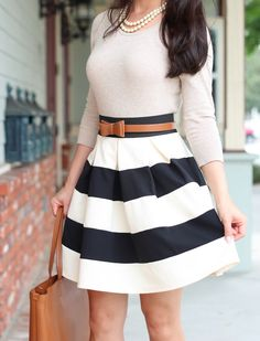 Modcloth Stripe It Lucky Skirt + Ferragamo Bice Tote - Stylish Petite Look Fashion, Autumn Fashion, Womens Fashion, Fashion Trends, Fashion Beauty, Ladies Fashion, Fashion 2014, Dress Fashion, Spring Fashion