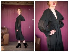 Beautiful vintage Viscose chiffon dress by Ossie Clark for Radley  * Low V neck * Midi length which falls in tiers from empire waist * Long sheer sleeves with elasticated shirred cuffs * Concealed back zip * Cape feature that skims the shoulders * Lined throughout * Label reads - Size 12 - 36/91cm  100% Viscose - Made in England  Good condition - although there are a few nibbles in the crease at the back, one on the shoulder AND also a water stain at the base of the skirt at the back. I am…