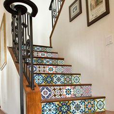 6Pcs 3D Retro Bohemian DIY Stair Sticker Vinyl Art Wall Decal Home Decor