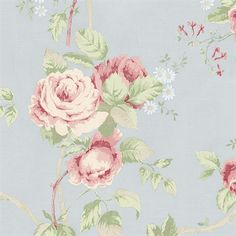 Shabby Chic Vintage Floral Wallpaper - Pale Blue Country Cottage, Cabbage Rose Girl Nursery, Antiguo Francés Victoriano -corte a tamaño Botanical Wallpaper, Rose Wallpaper, Textured Wallpaper, Wallpaper Roll, Pattern Wallpaper, Flowery Wallpaper, Vintage Floral Wallpapers, Blue Wallpapers, Shabby Chic Pink