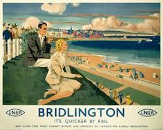 Poster produced for London and North Eastern Railway (LNER) to promote rail services to Bridlington in Yorkshire Print Framed, Poster, Canvas Prints, Puzzles, Photo Gifts and Wall Art Posters Uk, Train Posters, Railway Posters, Retro Posters, Beach Posters, British Travel, British Seaside, British Isles, Poster Size Prints
