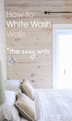 When you're in need of an easy project to give your home a charming remodel, this guide on how to whitewash wood walls is perfect. Complete your new space with cozy textures and rustic accessories. home wood White Washed Pine, White Washed Wood Paneling, White Washed Furniture, White Wash Walls, White Wash Ceiling, How To Wash Walls, White Plank Walls, White Wash Stain, Knotty Pine Walls