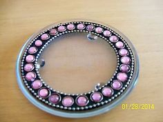 Candle Holder Pink Beaded Glass Round Home Decor