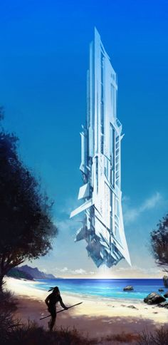 Concept Art - 'White guests' by on deviantART Fantasy Places, Sci Fi Fantasy, Fantasy World, Concept Ships, Concept Art, Sci Fi Ships, Science Fiction Art, Futuristic Architecture, Future City