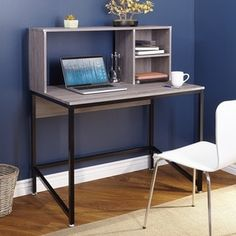 Porter Desk with Hutch, Black/Gray: Includes 1 desk with HutchMaterials: laminated MDF, MetalFeatures hutch with 2 shelves and large opening for laptopOverall dimensions: x x dimensions: x x assembly required Computer Desk With Hutch, Desk Hutch, Small Computer, Corner Desk, Grey Desk, Black Desk, Office Furniture Stores, Furniture Deals, Furniture Outlet