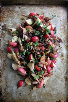 I'll be making a version of this salad--without the bacon! Hot Radish, Bacon and Walnut Salad