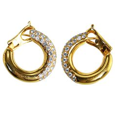 Van Cleef & Arpels Diamond Gold Hoop Earclips | From a unique collection of vintage hoop earrings at https://www.1stdibs.com/jewelry/earrings/hoop-earrings/