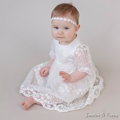 Baby girl christening dress christening gown by JasmineAndPoppy Baby Christening Dress, Girls Baptism Dress, Baptism Gown, Baby Girl Christening, Baby Girl Bows, Girls Bows, Baby Girl Dresses, Baby Dress, Flower Girl Dresses
