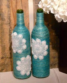Aqua Twine Wine Bottle w/ White Lace by GreenAshTreasures on Etsy
