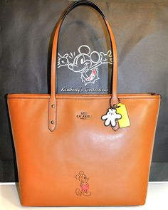 Disney X Coach Limited Edition Mickey Mouse Leather Tote Bag Purse Hangtag Charms