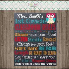 Classroom Rules Chalkboard Sign Teacher's Owl by punkydoodlekids