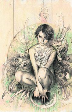 Artist: Rodrigo Enrique Luff, mixed media {contemporary fantasy art female kneeling woman drawing #loveart} rodluff.deviantart.com