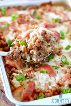 Northwoods Pie recipe is a casserole made with ground beef, bacon, beans and cheese! Perfect for low-carb diets and the perfect campfire meal!
