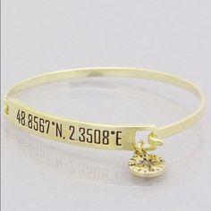 Paris longitude latitude gold bracelet New! Bundle and save 15%. 2.25 inch diameter antique gold tone hook bangle. No trades. Approximately 7 inches. Jewelry Bracelets