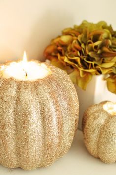 Glittered pumpkin candle holder