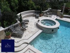Love hot tub with fountains Mosaic Pool - traditional - pool - los angeles - Vita Nova Mosaic, Inc. Indoor Swimming Pools, Swimming Pool Designs, Pool Water Features, Beautiful Pools, Dream Pools, Cool Pools, Awesome Pools, Patio Design, Tile Design