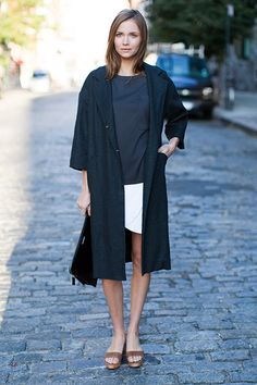 Drop Shoulder Coat - Opera Black / Drop Sleeve Shirt - Slate / Portia Skirt - White Brocade / Emerson Portfolio Cross Body Bag - Croc / Italian Slapper Caramello