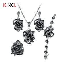 Cheap wedding jewelry, Buy Quality crystal jewelry set directly from China brand jewelry sets Suppliers: KineL Brand Rose Flower Black Crystal Jewelry Set Plating Ancient Silver Vintage Wedding Jewelry For Women Vintage Wedding Jewelry, Wedding Jewelry Sets, Engagement Jewelry, Bridal Jewelry, Wedding Ring, Party Wedding, Buy Crystals, Black Crystals, Argent Antique