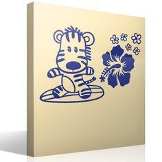 Stickers for Kids Surfer Zebra Room Stickers, Surfboard, Baby Room, Surfing, Kids, Design, Art, Boy Room, Child Room