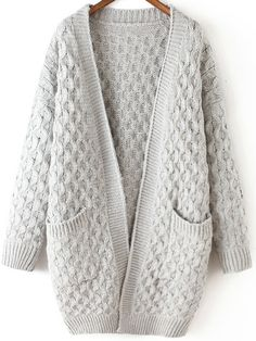 Light Grey Long Sleeve Chunky Pockets Cardigan , High Quality Guarantee with Low Price!
