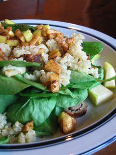 Quinoa, Apple, and Walnut Salad with Turkey Sausage | Fall Recipes | gluten free | egg free | wheat free | dairy free | nut free | soy free | shelfish free |