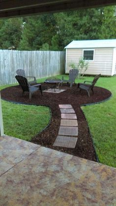 DIY Firepit Area - Mulch - Stepping Stones - Edging - Black Paper