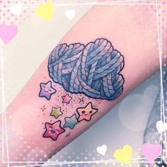 Adorable idea. Yarn cloud raining rainbow stars.Thanks Laura. #tattooed #tattoo…