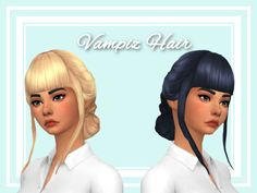 """stephanine-sims: """"  Hooray, I did another hair! :) This is one of the vampire pack hairs but without the accessories and straight bangs. I also made the hair less poofy on the side. I had to redo the UV map, which is not something I have done before..."""