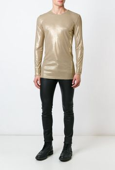 UNCONDITIONAL's long sleeved crewneck T-shirt in rayon rib, features araw cut hem. Colour : stone / gold foil Product Code :R81L-foil  Care instructions : Hand wash only, iron medium heat, do not bleach, do not tumble dry.