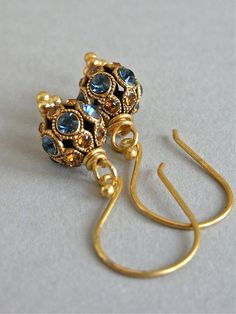 The Brocade earrings - stunning Swarovski crystal studded beads are completed with luxe all vermeil findings - so petite and oh-so-delightful!