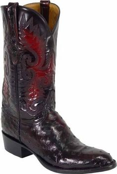 Lucchese Mens Black Cherry Full Quill Ostrich Boot