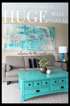 How to make a HUGE wall canvas for decor in your living room! DIY this decor from a curtain panel and old 2 x 4 wood.