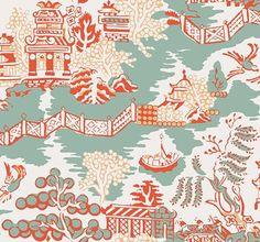 Luzon Aqua and Coral by Thibaut - Aqua / Coral - Wallpaper : Wallpaper Direct Coral Wallpaper, New Wallpaper, Fabric Wallpaper, Oriental Wallpaper, Chinese Wallpaper, Painted Wallpaper, Beautiful Wallpaper, Modern Wallpaper, Wallpaper Ideas