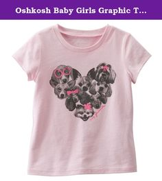 """Oshkosh Baby Girls Graphic Tee - Cute Puppies, My Friends - Pink (6 Months). Puppies on pink will be her most-loved tee. Screen-printed """"MY FRIENDS"""" and photo-real puppies. This 100% cotton jersey tee is comfortable for all-day wear."""