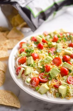 Skinny Taco Dip is a light and easy 10 minute appetizer that is a crowd-pleaser with healthy ingredients, including Greek yogurt, salsa and vegetables. Healthy Potluck, Healthy Weekly Meal Plan, Healthy Finger Foods, Healthy Tacos, Healthy Recipes, Ninja Recipes, Delicious Recipes, Tasty, Easy Dinner Party Recipes