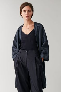 Embrace unpredictable weather with our selection of women's coats and jackets at COS. Coats For Women, Jackets For Women, Clothes For Women, Women's Clothes, Blue Coats, Linen Jackets, Cotton Pants, Trousers Women, Cotton Linen