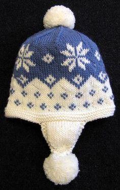 Easy Knitting Pattern-Cascading Snowflake Earflap Hat PDF