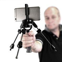 IndieSolo | Pans and tilts, high and low angle, full directional control.  Shake-free footage while running up and down stairs. Shooting at Dutch tilt/angle. 360 walk-around shots;Inverted usage;Fits all smartphones, easy to set up, lightweight, foldable. The IndieSolo also acts as a tripod. Bottom of handle has universal 1/4″ connector