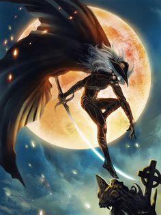 1boy aiden(chi777666) d_(vampire_hunter_d) hat high_resolution long_hair moon solo sword vampire vampire_hunter_d weapon