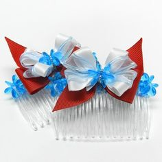 DIY- Red, White, and Blue Hair Combs with Bows- These are great for thick & curly hair.
