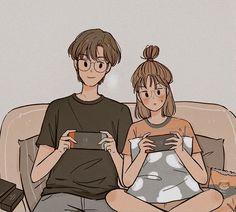 Cute Couple Drawings, Cute Couple Cartoon, Cute Couple Art, Cute Love Cartoons, Cute Drawings, Cute Couple Wallpaper, Korean Art, Love Illustration, Cartoon Art Styles