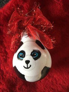 Panda Bear Hand Painted Lightbulb Ornament