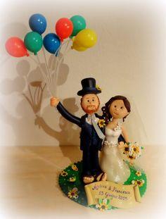 #Caketopper #fimo #matrimonio #sposini #sopratorta #palloncini #wedding…