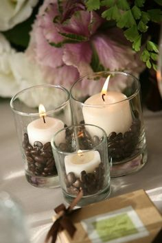 DIY: Coffee Bean Votives – turn your ordinary candles into scented candles. mmmm… DIY: Coffee Bean Votives – turn your ordinary candles into scented candles. mmmm the aroma of coffee. Coffee Bean Candle, My Coffee, Coffee Beans, Coffee Aroma, Coffee Bean Decor, Coffee Shops, Coffee Drinks, Coffee House Decor, Coffee Bean Art