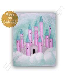 Princess Castle Wall Art, Girls room decor, Princess decor, Pink Aqua, Princess wall art, Baby Girl Nursery, Girls room wall art, kids art