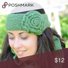 Knitted Flower Headband Mossy green knitted headband. Perfect for the upcoming sweater weather! New in bag, never worn. Features a knitted button to secure around head. Accessories Hair Accessories